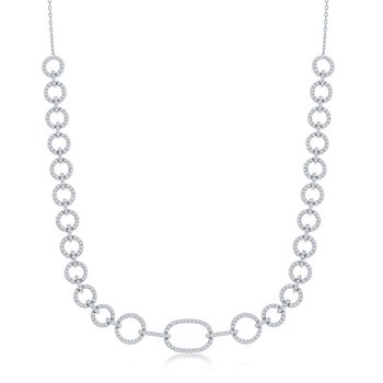 Sterling Silver CZ Linked Circle Chain Necklace