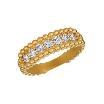 14k Gold 0.50ctw. Diamond 1-Row Beaded Rectangle-Top Anniversary Wedding Band Ring
