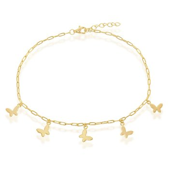 14k Yellow Gold Plated Sterling Silver Butterfly Charms Paper Clip Style Link Chain Anklet