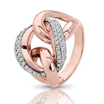 1/2ct. Diamond 14k Two Tone Rose/White Gold Interlocking Link Freeform Right Hand Ring Band