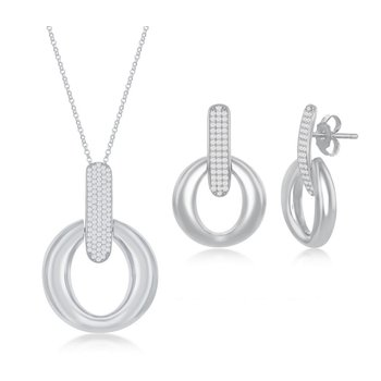 Sterling Silver Door-Knocker Pave CZ Pendant Chain Necklace and Earrings Set