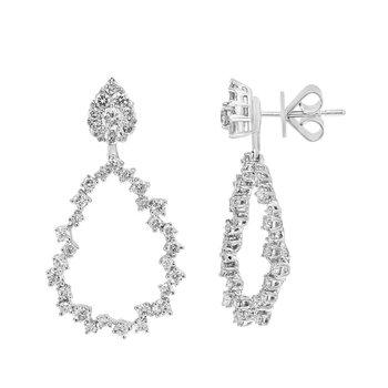 - 14k White Gold Diamond Fancy Floral Leaf  Nature Inspired Design Dangle Drop Earrings