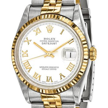 : Pre-Owned Independently Certified Rolex Gents Datejust Steel/18k with Roman Numerals Dial, and Jubilee Band