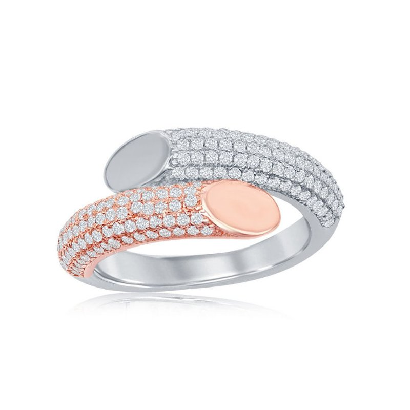 Fashion Jewelry Collection Sterling Silver 14k Rose Gold Plated Micro Pave CZ Bottom Flat Overlapping Bangle Bracelet and Earrings and Ring Set