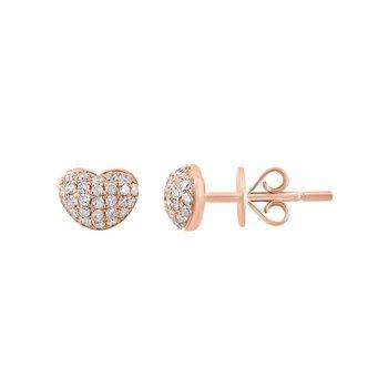 - 14k Rose Gold Pave Diamond Heart Stud Earrings
