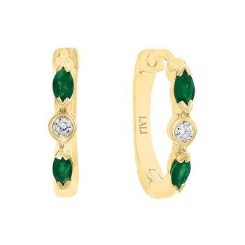 - 14k Yellow Gold Diamond and Emerald Gemstone Hinged Snap Huggie Earrings