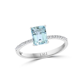 - 14k White Gold Diamond and 0.90Ct. Aquamarine Gemstone Cocktail Ring