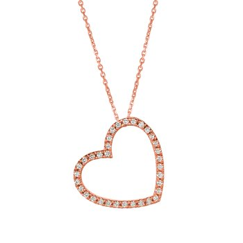 "14k Gold Diamond Gemstone Heart Pendant 18"" Chain Necklace"