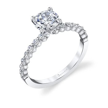 - Solitaire Round Center Diamond Accented Semi-Mount Engagement Ring