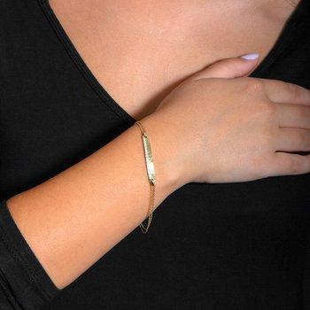 1/6ct. Diamond 14k Gold Chain Bar Bracelet