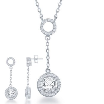 - Sterling Silver Round CZ Stones Halo Open Circle Drop Down Necklace and Earrings Set