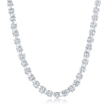 - Sterling Silver 3mm Open Bizantine Chain Necklace for Men