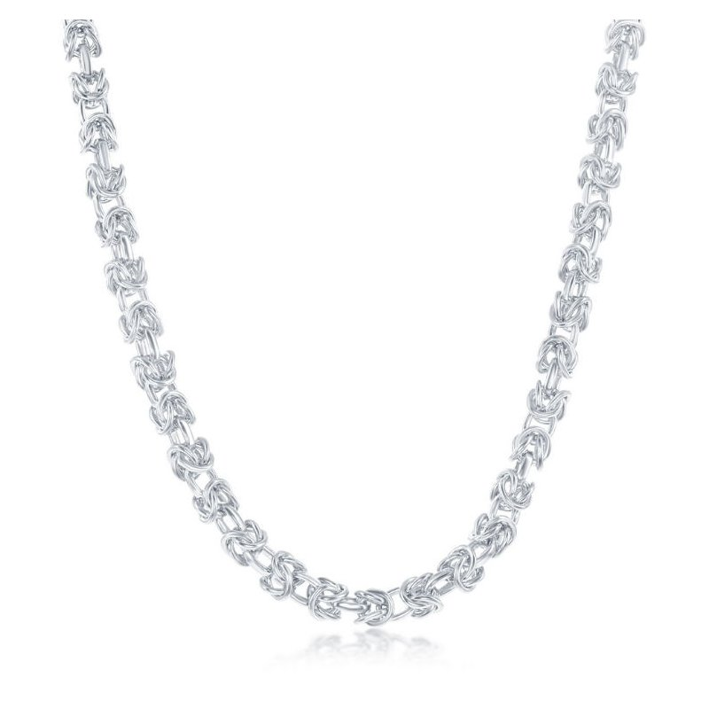 Fashion Jewelry Collection  - Sterling Silver 3mm Open Bizantine Chain Necklace for Men