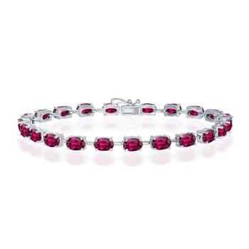 """- Sterling Silver Rhodolite Oval Gemstone Link Tennis Bracelet - 7.50"""""""