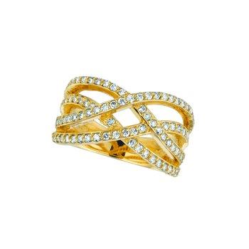 14K Gold 0.76ctw. Diamond Wide Bypass Criss-Cross Band Ring