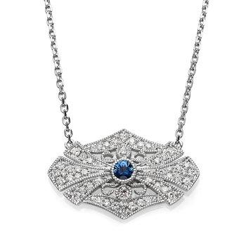 - 1/5ct. Diamond & 1/20ct. Round Blue Sapphire Gemstone 14k Gold Chain Necklace