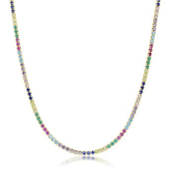 """- Sterling Silver 14k Yellow Gold Plated Multi-Color Rainbow Round CZ Choker Tennis Neckalce - 12"""""""