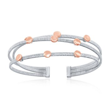 - Italian Collection Sterling Silver Bonded with Platinum and Buttons Plated with 14k Rose Gold Triple Wire Bangle Cuff Bracelet