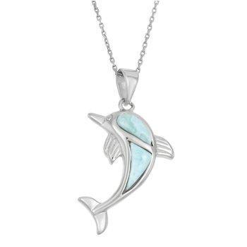 - Caribbean Treasures Sterling Silver Larimar Gemstones Dolphin Pendant