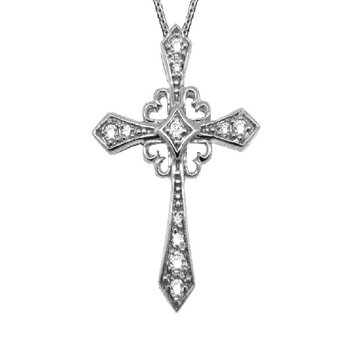 "14K Gold 0.25ctw. Diamond Cross Pendant 18"" Chain Necklace"