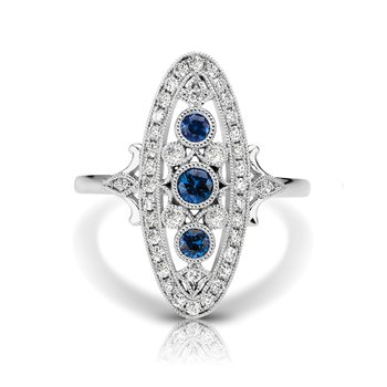 - 1/4ctw. Diamonds & 1/3ctw. Blue Sapphire Round Gemstones 14k Gold Vintage-Inspired Right Hand Ring