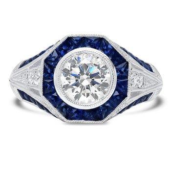 - French Cut Blue Sapphire Hexagon Halo and Diamond Semi-Mount Ring