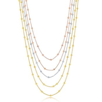 Sterling Silver Tri Color 3mm Graduating Round Diamond Moon Cut Beaded 5-Strand Bracelet/Necklace