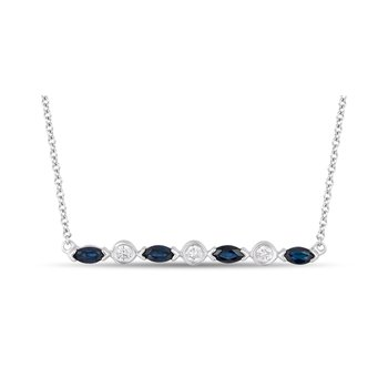 - 14k White Gold Diamond and Blue Sapphire Gemstone Necklace