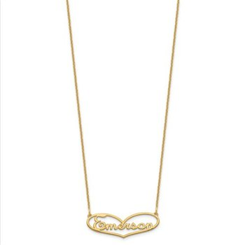 "14k Gold Personalized Heart Name/Signature 18""x1mm Chain Necklace"