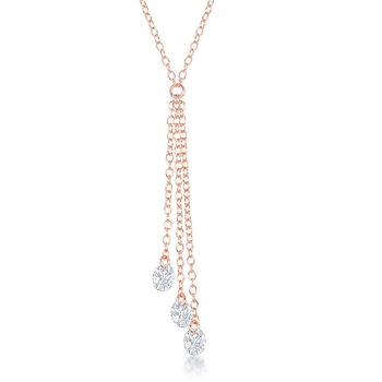 Sterling Silver Hanging CZ Chain Necklace and Earrings Set