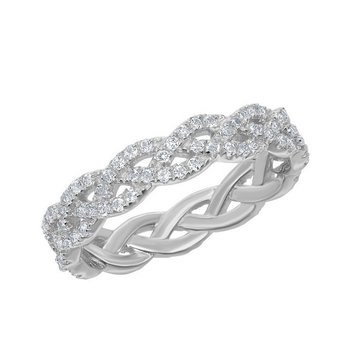 Bellissima Sterling Silver 0.95ctw. White Topaz Gemstone Eternity Band Ring