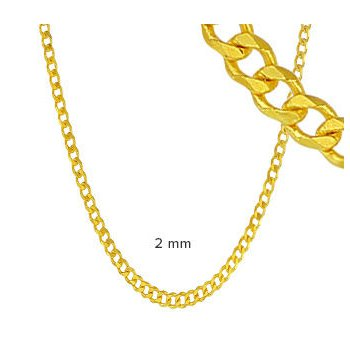 - Sterling Silver 14k Yellow Gold Plated 2mm Curb Chain Necklace