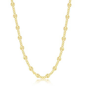 Sterling Silver Alternating Curb and Diamond-Cut Disc Station Chain Necklace