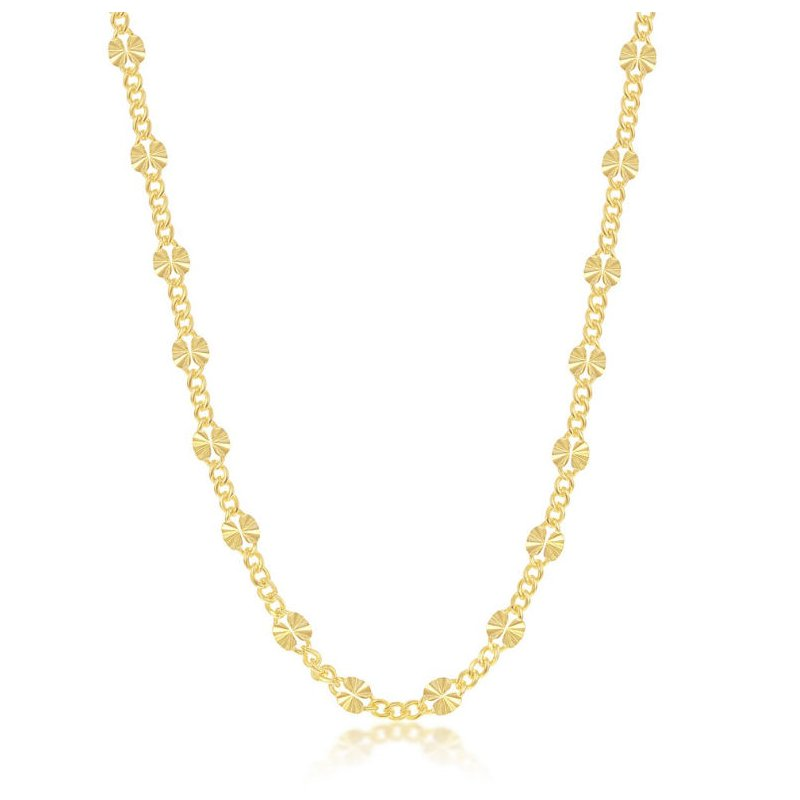 Fashion Jewelry Collection Sterling Silver Alternating Curb and Diamond-Cut Disc Station Chain Necklace