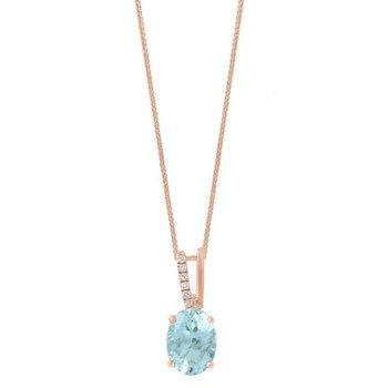 - 14k Rose Gold Diamond and Aquamarine Gemstone Chain Pendant
