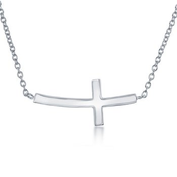 Sterling Silver Curved Sideways Cross Chain Necklace