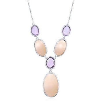 """- Simona Sterling Silver Alternating Oval Amethyst and Pink Mother-of-Pearl Y Neckalce - 16"""""""