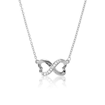 - Sterling Silver Set with CZ Stones Infinity Heart Chain Necklace - 16""
