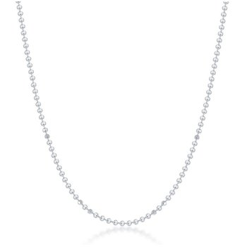 Sterling Silver 1.8mm Diamond Cut Bead Chain Anklet/Necklace