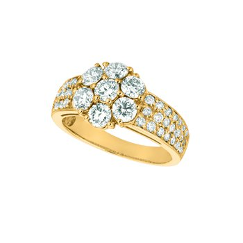 14K Gold 2.02ctw. Diamond Flower Floral 7-Stone Center Accented Cocktail Anniversary Ring