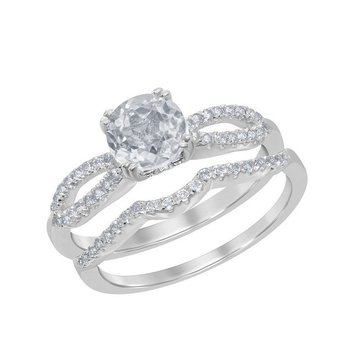 Sterling Silver 1.80ctw. White Topaz Round Gemstone Wedding Band and Engagement Ring Set