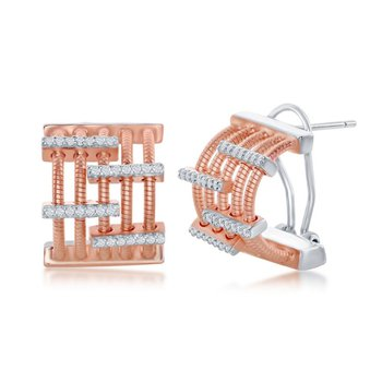 Sterling Silver 14k Rose Gold Plated CZ Stones Huggie Earring Pair
