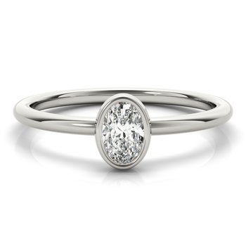Solitaire Bezel-Set Oval 1/3ct. Diamond Anniversary Stackable Ring Band