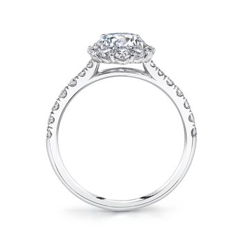 - Classic Round-Shaped Diamond Halo Semi-Mount Engagement Ring
