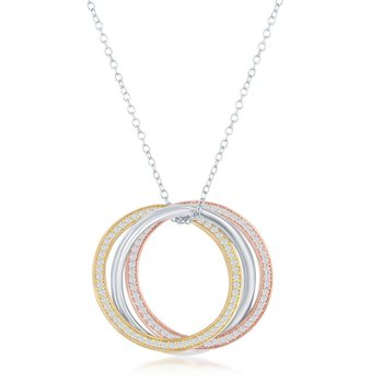 Sterling Silver Tri-Color 14k Gold Plated CZ Triple-Circle Pendant Chain Necklace