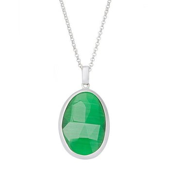 """- Simona Sterling Silver Grass Green Oval Cat's Eye Pendant Necklace - 17"""""""