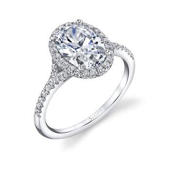 - Halo Diamond Accented Micro Split Shank Semi-Mount Engagement Ring
