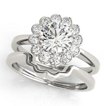 - Round Halo Diamond Engagement Ring and Wedding Band Set