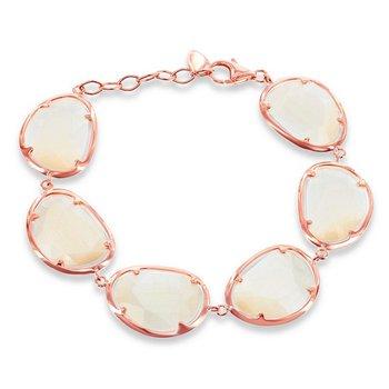 "- Simona Sterling Silver 14k Rose Gold Plated Champagne Cat's Eye Bracelet - 7"""