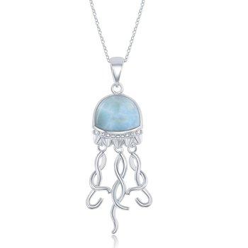 - Caribbean Treasures Sterling Silver Larimar Gemstone Jellyfish Pendant